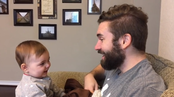 Baby bursts into tears after seeing her dad without a beard